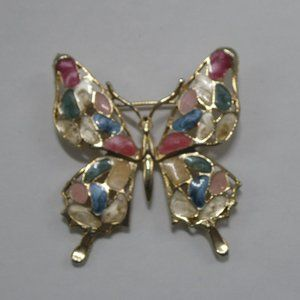 Butterfly Brooch Enamel Gold Tone Colorful Insect
